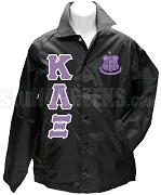 Kappa Lambda Xi Greek Letter Line Jacket with Crest, Black