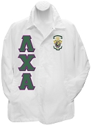 Lambda Chi Alpha Greek Letter Line Jacket with Crest, White