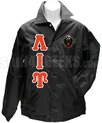 Lambda Iota Upsilon Greek Letter Line Jacket with Crest, Black