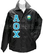 Lambda Omicron Chi Greek Letter Line Jacket with Crest, Black