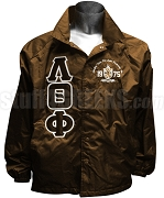 Lambda Theta Phi Greek Letter Line Jacket with Embellished Crest, Brown