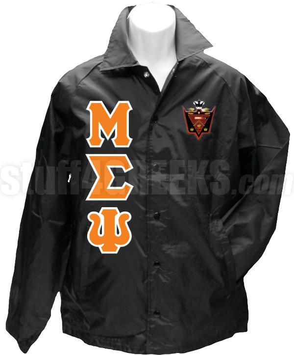 0daa899b8 Malik Fraternity Greek Letter Line Jacket with Crest, Black