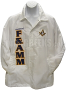 Free & Accpeted Master Mason Letter Line Jacket with Square & Compass Crest, White