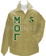 Mu Omicron Gamma Greek Letter Line Jacket with Crest, Tan