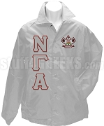 Nu Gamma Alpha Greek Letter Line Jacket with Crest, Gray