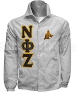 Nu Phi Zeta Greek Letter Line Jacket with Dog Emblem, Gray