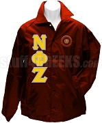Red Nu Phi Zeta Crest Line Jacket with Gold and Gray Letters