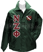 Nu Zeta Phi Greek Letter Line Jacket with Crest, Forest Green