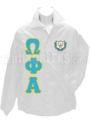 Omega Phi Alpha Line Jacket with Letters and Crest, White