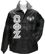 Omega Phi Zeta Greek Letter Line Jacket with Crest, Black