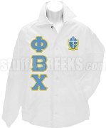 Phi Beta Chi Greek Letter Line Jacket with Crest, White