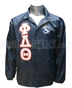 Phi Delta Theta Greek Letter Line Jacket with Crest, Navy Blue