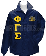 Phi Gamma Sigma Greek Letter Line Jacket with Crest, Navy Blue