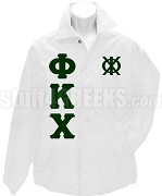 Phi Kappa Chi Greek Letter Line Jacket with Crest, White