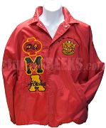 Phi Mu Alpha Multicolor Greek Letter Line Jacket with Letters Thru and Crest, Red