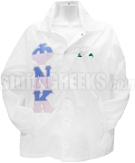 Phi Nu Kappa Split Greek Letter Line Jacket with Lily, White
