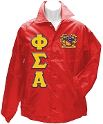 Phi Sigma Alpha Greek Letter Line Jacket with Crest, Red