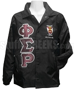 Phi Sigma Rho Crossing Jacket with Metallic Lined Greek Letters and Crest, Black
