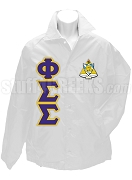 Phi Sigma Sigma Line Jacket with Letters and Crest, White