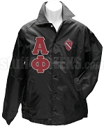 Alpha Phi Greek Letter Line Jacket with Crest, Black