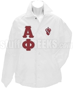 Alpha Phi Greek Letter Line Jacket with Crest, White