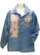 Theta Nu Xi Butterfly Greek Letter Line Jacket with Crest, Light Blue