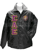 Sigma Alpha Epsilon Greek Letter Line Jacket with Crest, Black