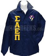 Sigma Alpha Epsilon Pi Greek Letter Line Jacket with Crest, Navy Blue