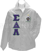 Sigma Delta Lambda Greek Letter Line Jacket with Crest, Gray