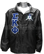 Sigma Kappa Phi Greek Letter Line Jacket with Motto Crest, Black