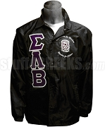 Sigma Lambda Beta Greek Letter Line Jacket with Motto and Crest, Black