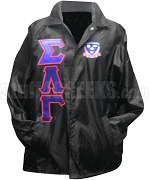 Sigma Lambda Gamma Greek Letter Line Jacket with Crest, Black