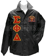 Sigma Phi Delta Greek Letter Line Jacket with Crest, Black