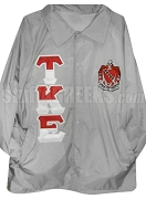 Tau Kappa Epsilon Line Jacket with Split Color Greek Letters and Crest, Gray