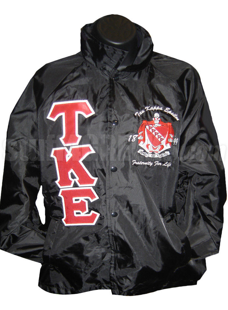 tau kappa epsilon line jacket with greek letters and