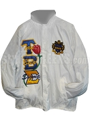 Tau Beta Sigma Greek Letter Line Jacket with Letters Thur, Rose, and Crest, White