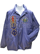 Purple Omega Psi Phi Line Jacket with 20 Pearls and Thunderbolt on Omega