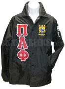 Pi Alpha Phi Greek Letter Line Jacket with Crest, Black