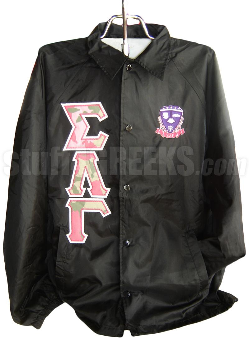 sigma lambda gamma camo greek letter line jacket with crest  black