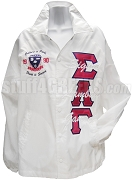Sigma Lambda Gamma Greek Letter Line Jacket with Embellished Crest, White