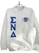 Sigma Nu Delta Greek Letter Line Jacket with Crest, White