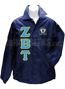 Zeta Beta Tau Greek Letter Line Jacket with Crest, Navy Blue