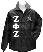 Zeta Phi Zeta Greek Letter Line Jacket with Crest, Black