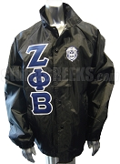 Black Zeta Phi Beta Line Jacket with Greek Letters and Crest