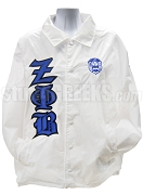 Zeta Phi Beta Line Jacket with Old English Greek Letters and Crest, White