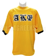 Alpha Kappa Psi Crossing Jersey with Old English Greek Letters, Gold/Navy Blue