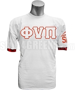 Kappa Alpha Psi Crossing Jersey with Phi Nu Pi Letters, White /Red - Includeds: Front, Sleeves, Back Line Name, and Back Line Number