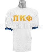 Pi Kappa Phi Crossing Jersey with Greek Letters, White/Royal Blue