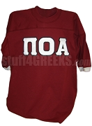 Pi Omicron Alpha Crossing Jersey, Crimson with White Cuffs