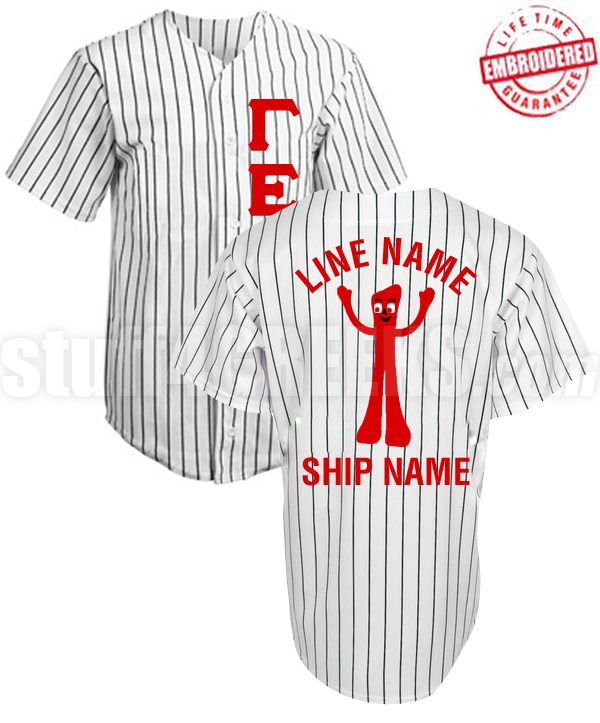 detailing 2b3b3 af36d Fraternity/Sorority Deluxe Custom Cloth Pinstripe Baseball Jersey: Includes  Greek Letter Front, Left Sleeve Text, Back Sleeve Text, Back Line Name, ...